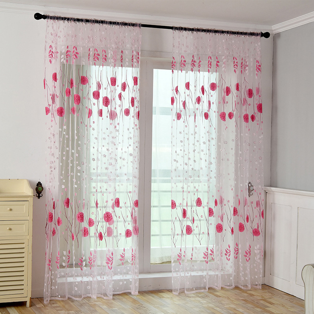 Printed Tulle Transparent Window Screen Bedroom Balcony Curtain Pink_W100cm * H200cm