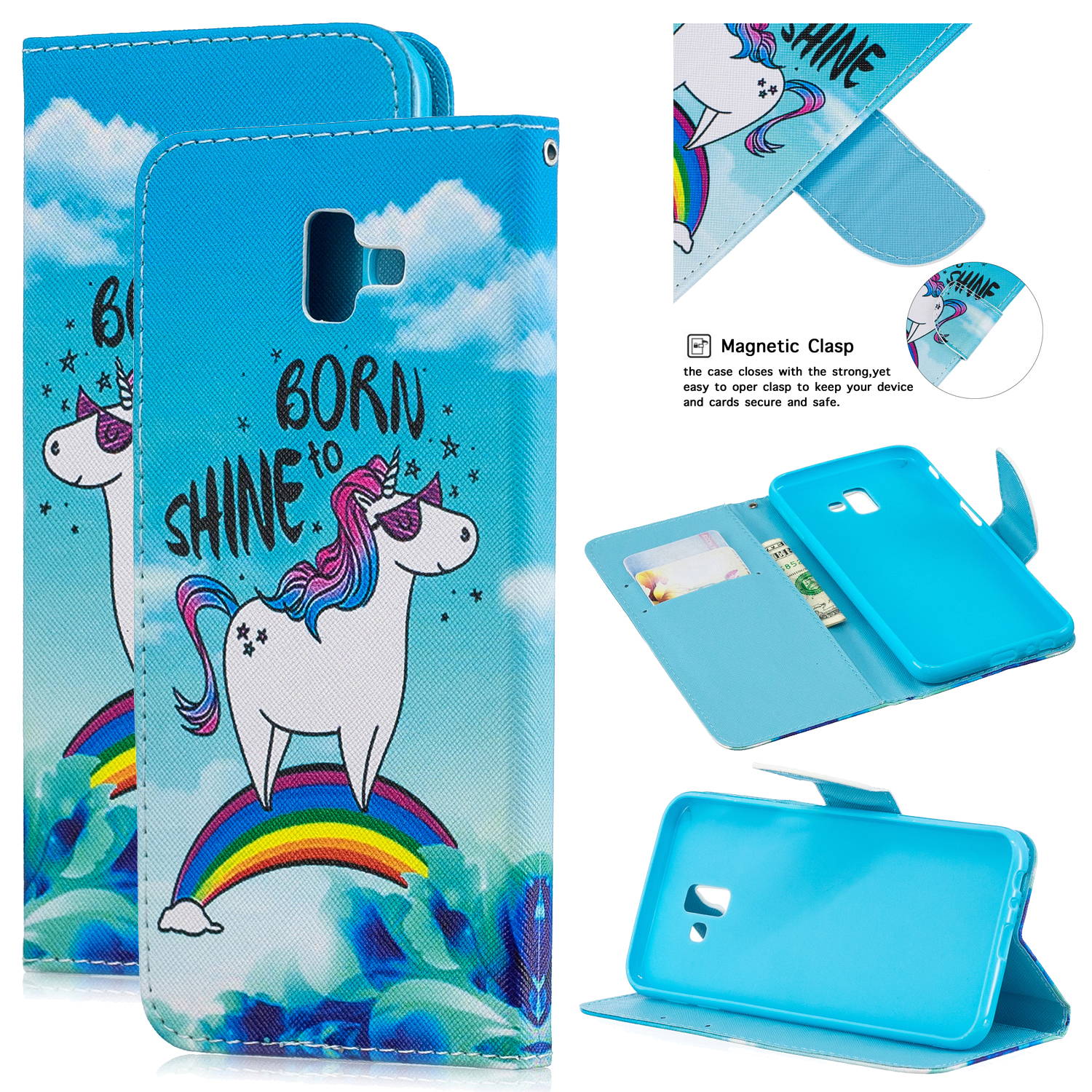 For Samsung J4 Plus/J6 Plus Cartoon Phone Shell Delicate Smartphone Case PU Leather Overall Protective Wallet Design Rainbow horse