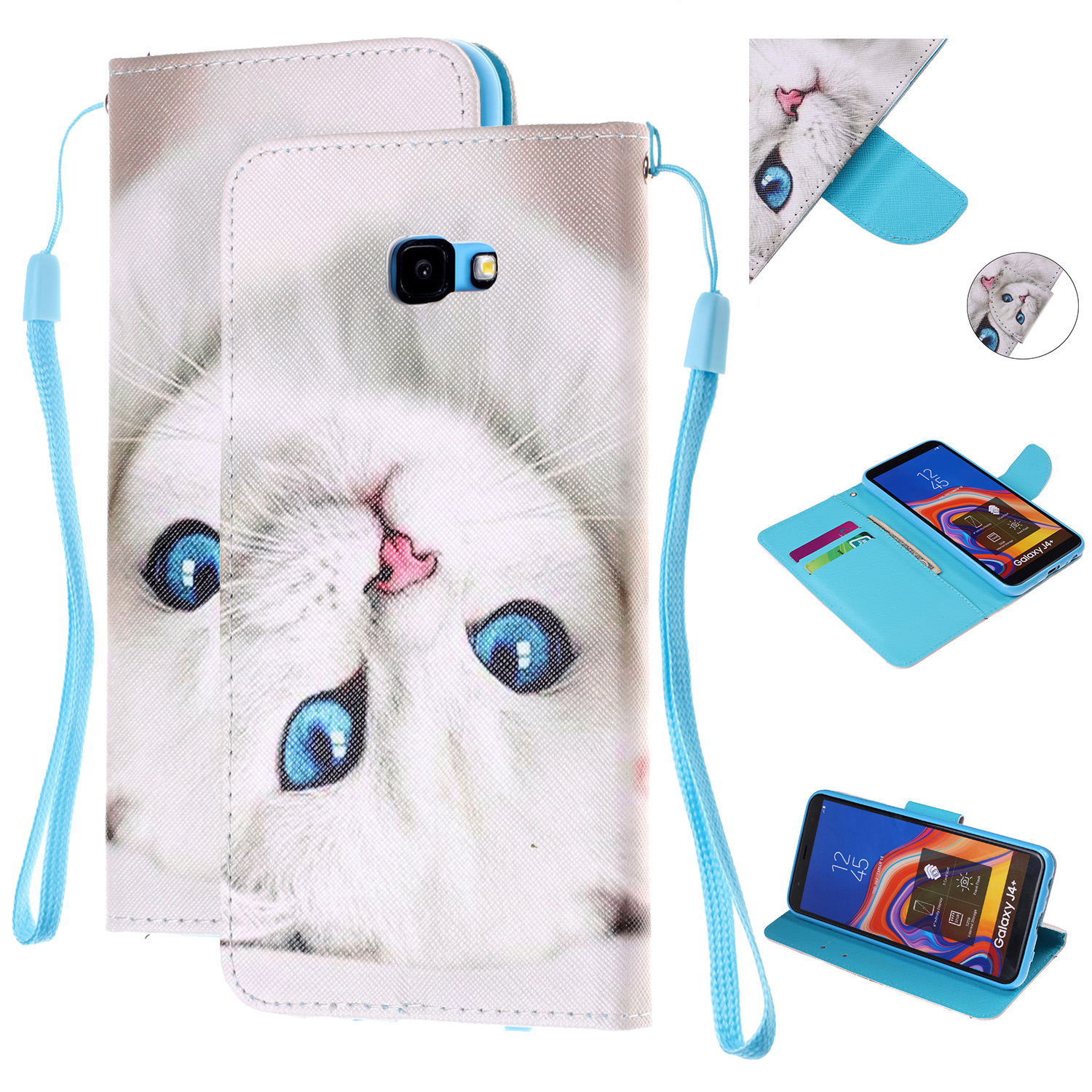 For Samsung J4 Plus/J6 Plus Cartoon Phone Shell Delicate Smartphone Case PU Leather Overall Protective Wallet Design Blue eyes cat