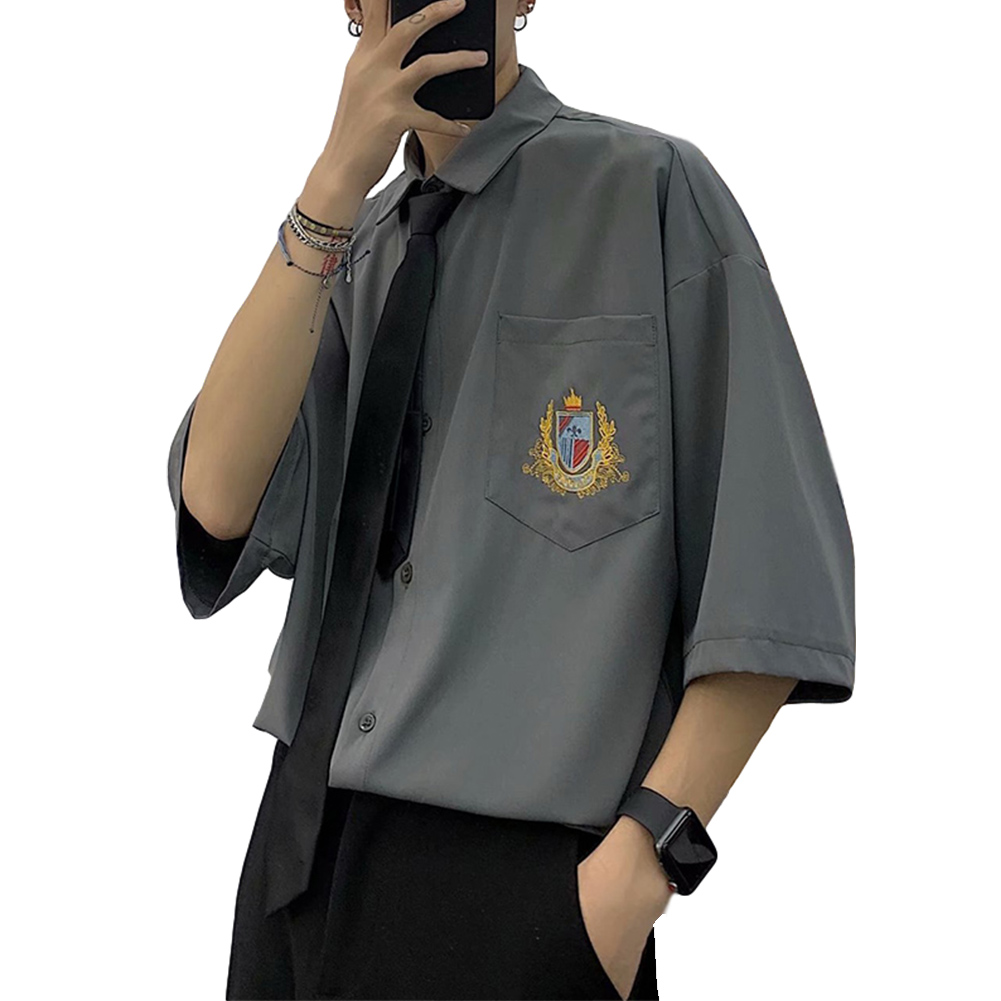 Men's Shirt Summer All-match Loose Short-sleeve Uniform Shirts with Tie Grey _XXL
