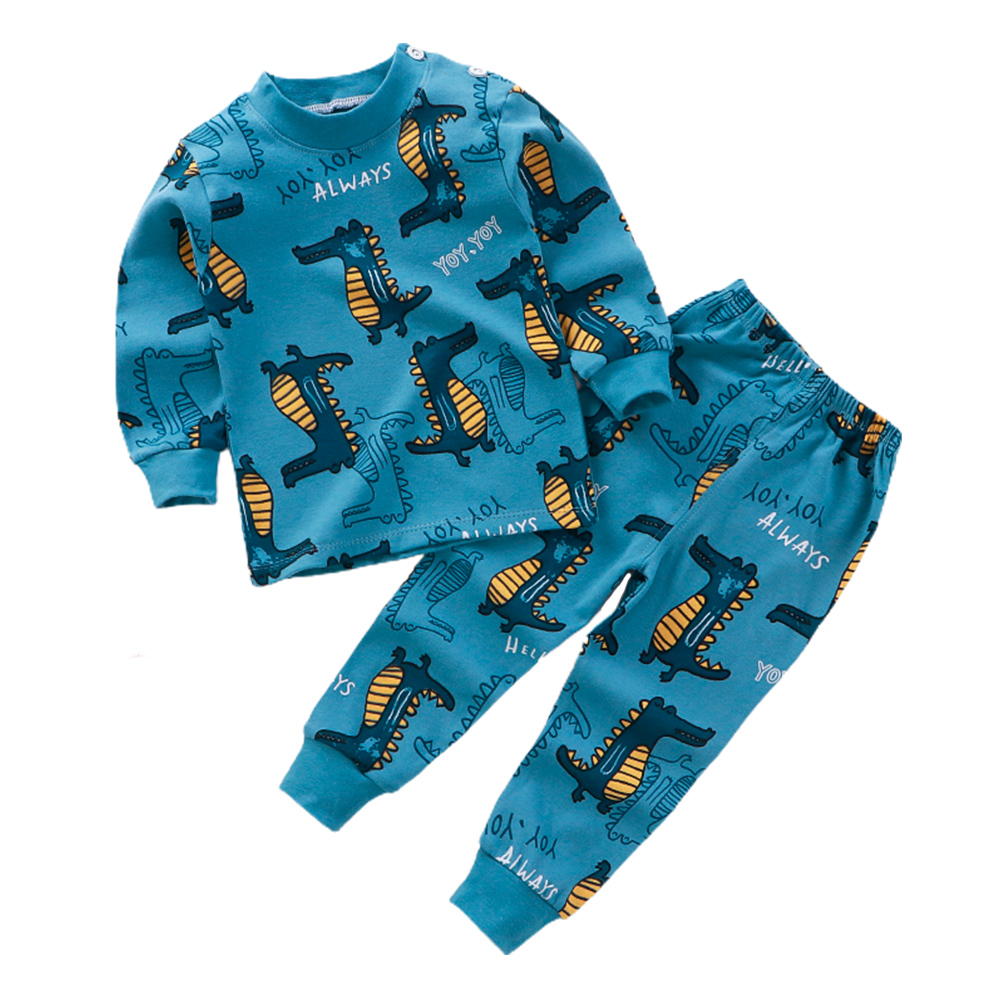 2 Pcs/set Children's Underwear Set Cotton Cartoon Long-sleeve + Trousers for 0-4 Years Old Kids a05_100 yards