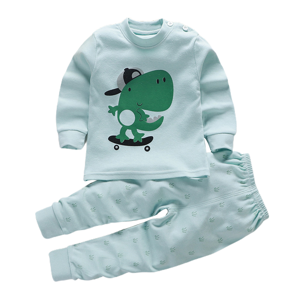 2 Pcs/set Children's Underwear Set Cotton Cartoon Long-sleeve + Trousers for 0-4 Years Old Kids dinosaur_100 yards