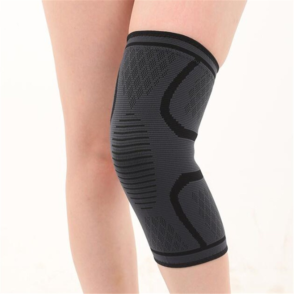 Knee Support Fitness Running Cycling Knee Support Brace Elastic Sleeve black_L