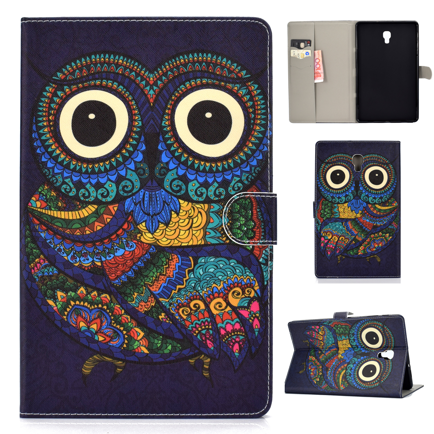 For Samsung T590 Laptop Protective Case Color Painted Smart Stay PU Cover with Front Snap owl