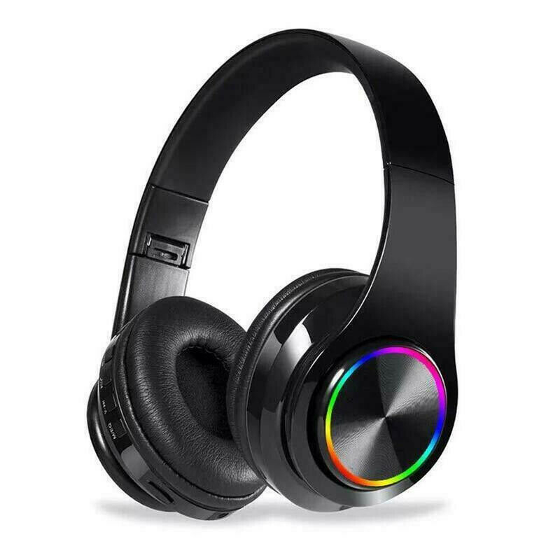 Wireless Luminous Headphones Bluetooth V5.0 Earphones Over-Ear Stereo Super Bass Headset with Microphone black