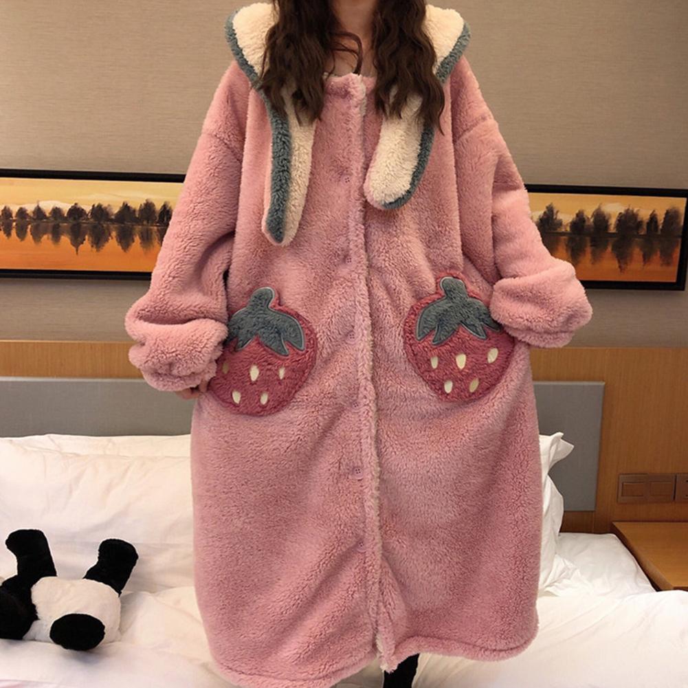 Autumn Winter Sweet Cute Leisure Wear for Women Coral Fleece Strawberry Night Skirt Pink_One size