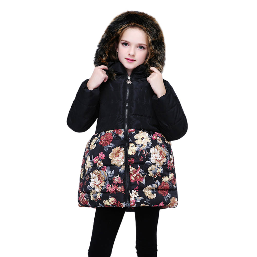 Baby Girl Coat Fur Collar Detachable Hooded Cotton Jacket Flower Print Medium Style Cotton Coat black_150cm