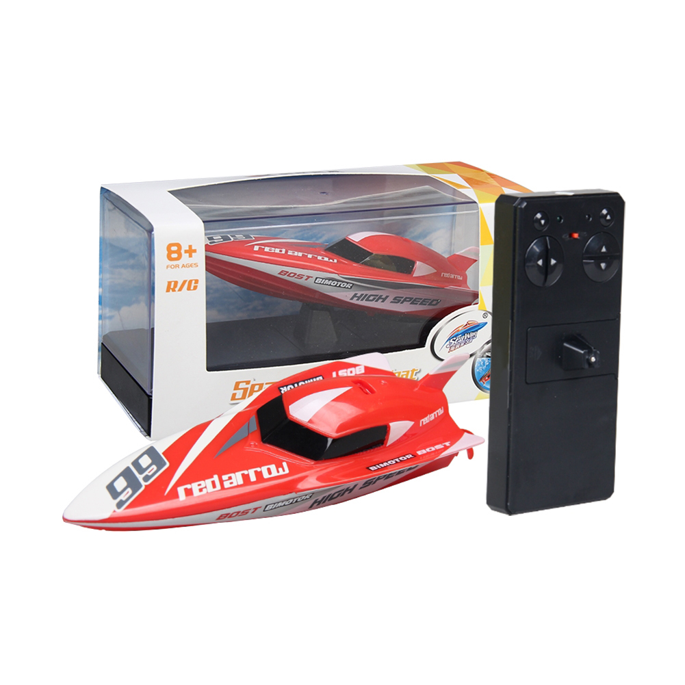 Cool 2.4G Kids Toys 4 Functions Mini RC Speedboat Boat Remote Control Toys for Boys Children  red