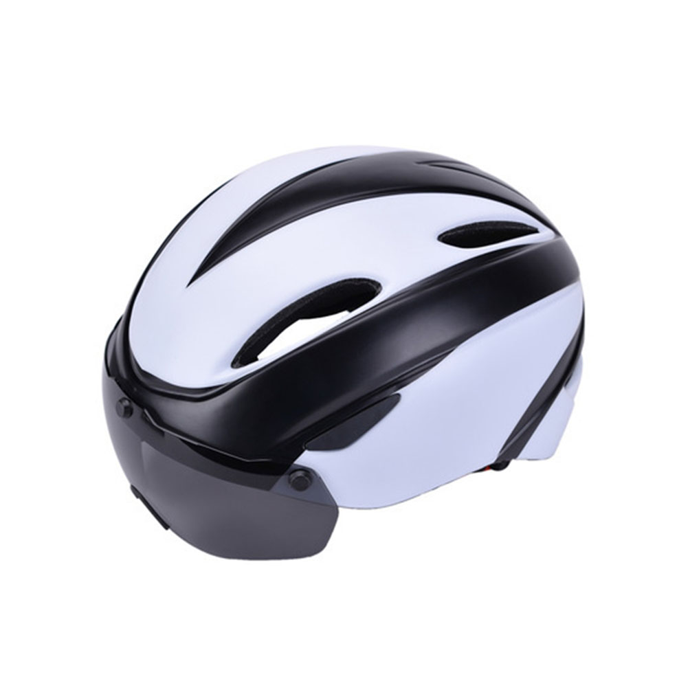 Bicycle Helmet EPS Integrally-molded Breathable Cycling Helmet Goggles Lens MTB Road Bike Helmet Black and white_One size