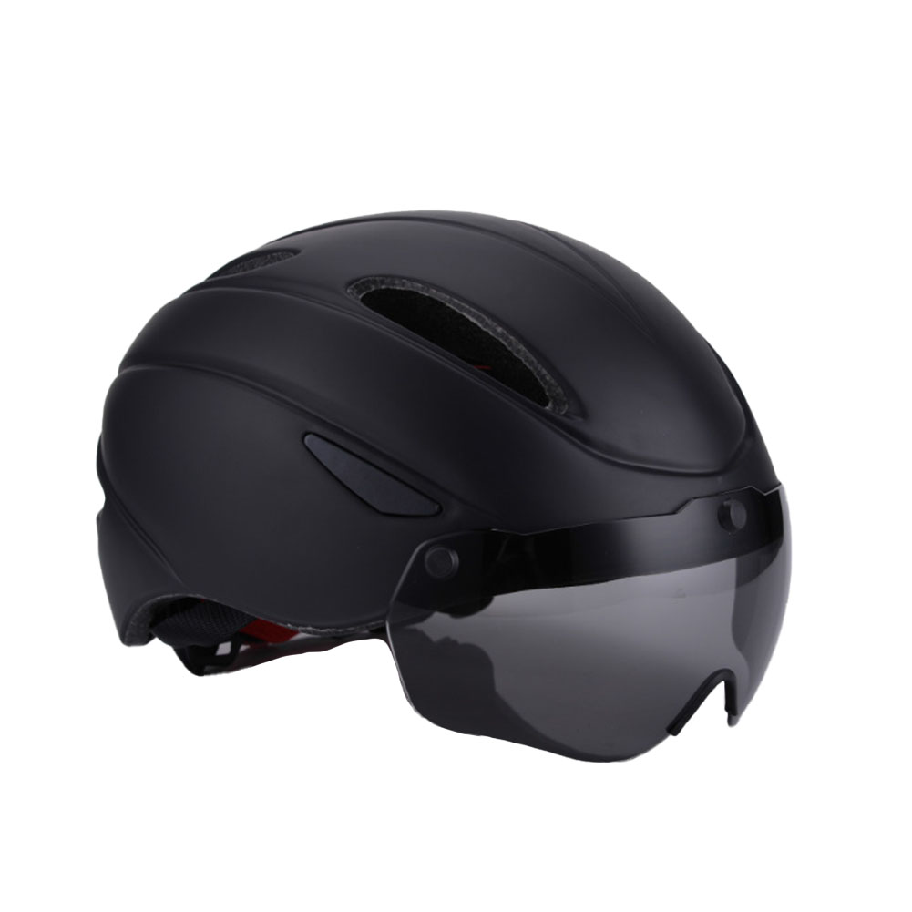 Bicycle Helmet EPS Integrally-molded Breathable Cycling Helmet Goggles Lens MTB Road Bike Helmet black_One size