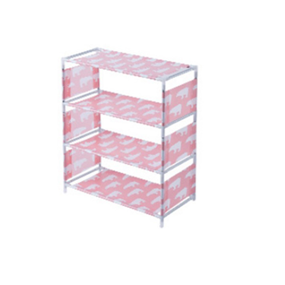 Multilayer Non-woven Shoe Rack Organizer for Living Room Bedroom Pink_4layers