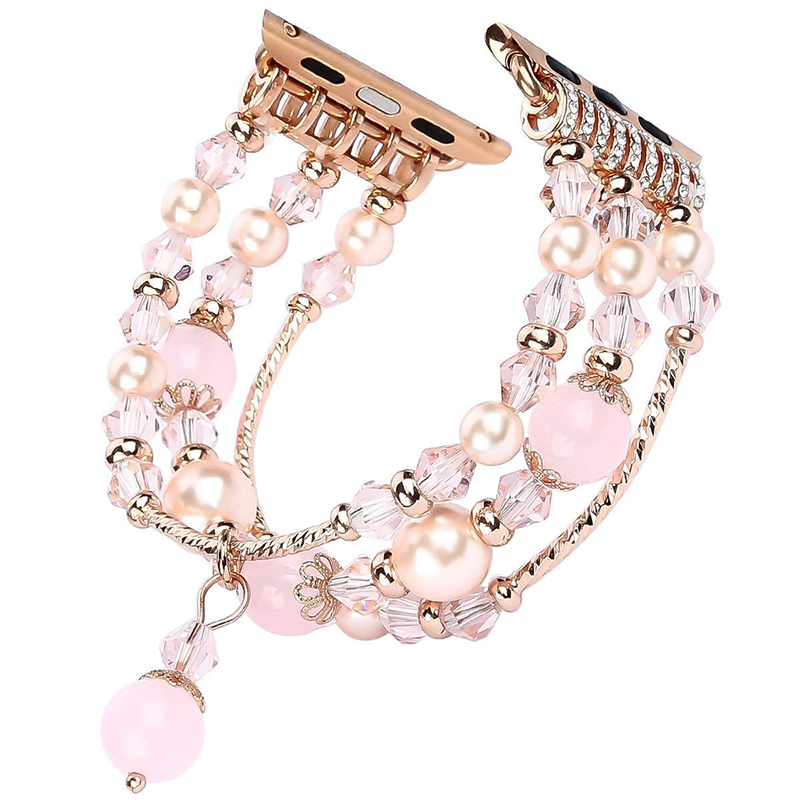 Jewelry Agate Watchband for iwatch Smartwatch Accessaries Pink_42-44MM