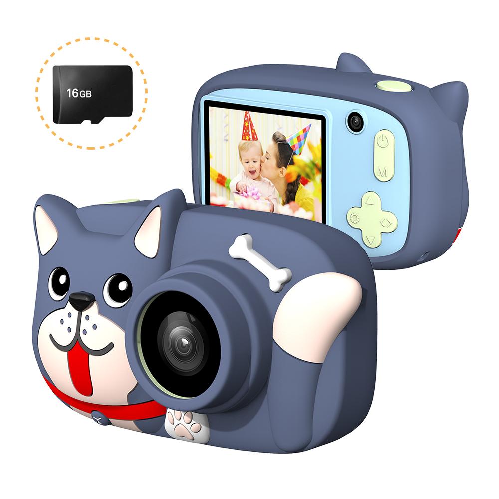 Mini Cartoon Kids Digital Camera 26MP 1080P Video Camera Camcorder 2.4 Inch IPS Screen Dual Camera Lens Shockproof for Children Shark Blue Dog