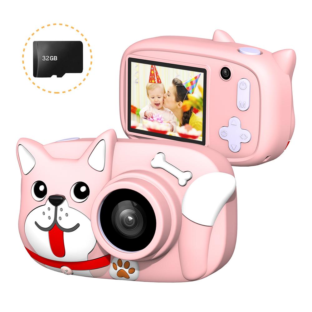 Mini Cartoon Kids Digital Camera 26MP 1080P Video Camera Camcorder 2.4 Inch IPS Screen Dual Camera Lens Shockproof for Children Misty Pink Dog