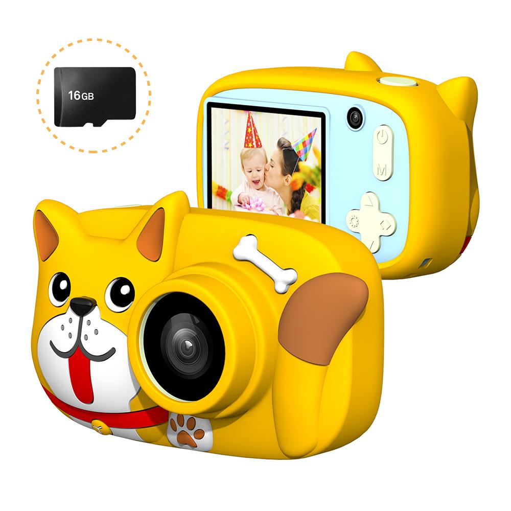Mini Cartoon Kids Digital Camera 26MP 1080P Video Camera Camcorder 2.4 Inch IPS Screen Dual Camera Lens Shockproof for Children Crescent yellow dog