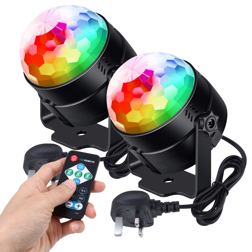 Litake 2Pcs 6 Colors Sound Actived LED Disco Ball Light with Remote Control Portable USB Powered RGB Party Lamp Crystal Magic Stage Light Set