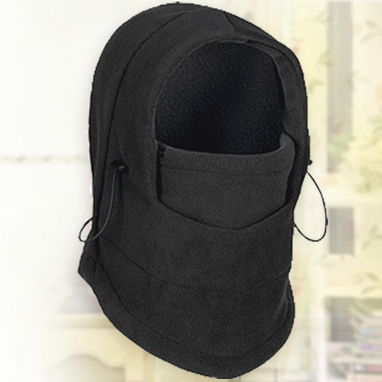 Thermal Fleece Balaclava Hat Hooded Neck Warmer Cycling Face Mask Outdoor Winter Sport Cycling Masked Cap black_Free size