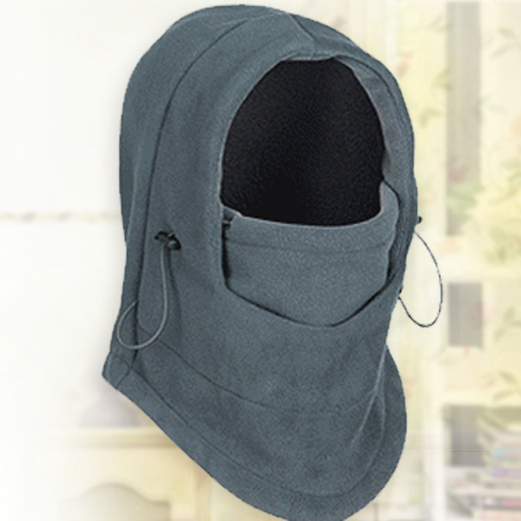 Thermal Fleece Balaclava Hat Hooded Neck Warmer Cycling Face Mask Outdoor Winter Sport Cycling Masked Cap gray_Free size