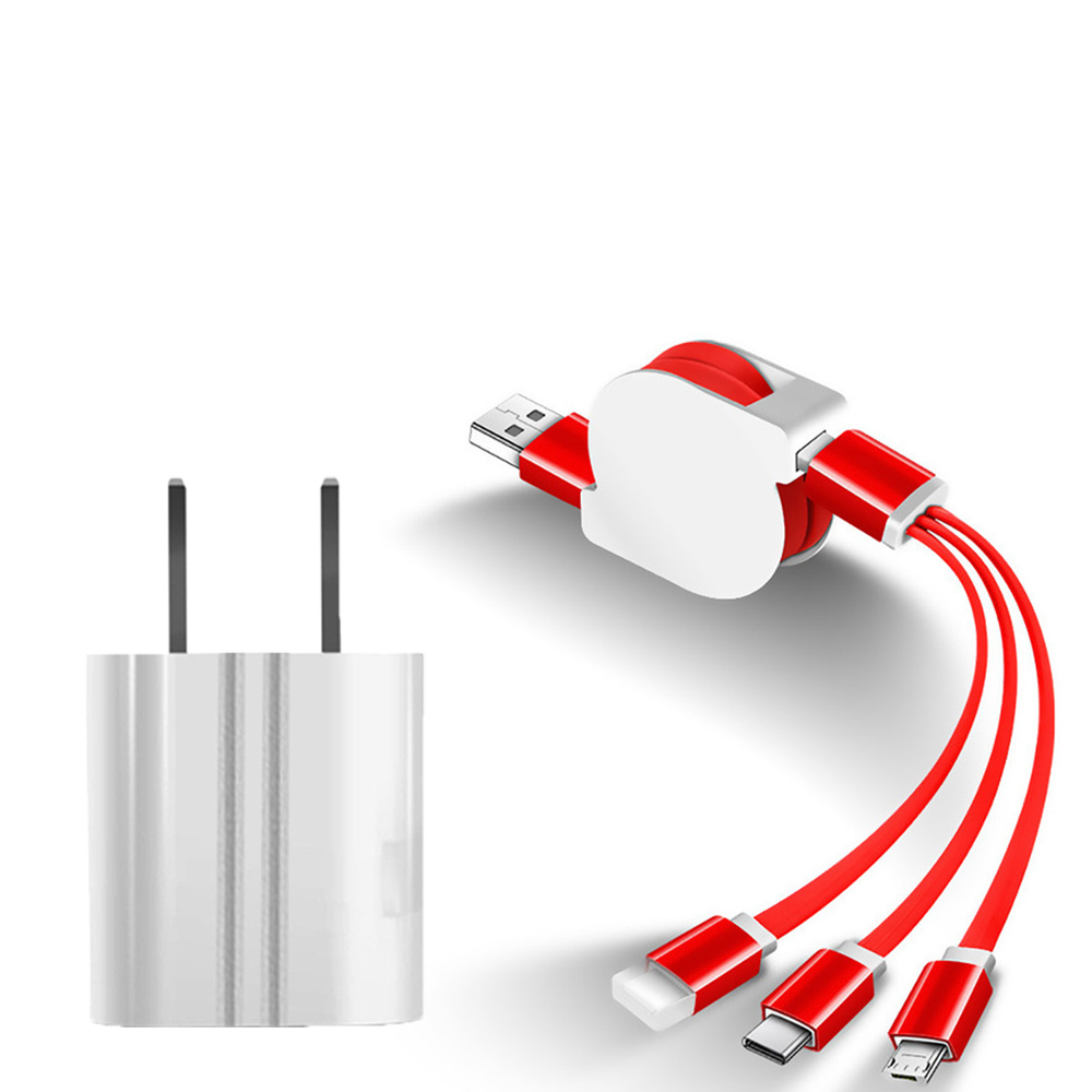 SIMU Universal Multifunctional Telescopic One-for-Three Mobile Phone Charging Data Cable Set red