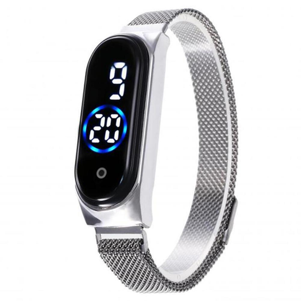 Electronic Watch Magnetic Quartz Waterproof Touch Led Bracelet Silver (blue circle)