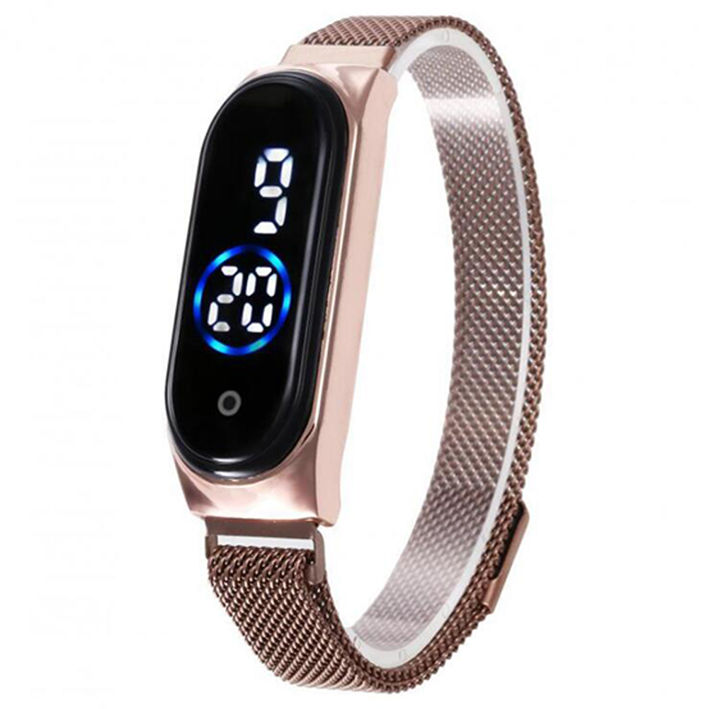 Electronic Watch Magnetic Quartz Waterproof Touch Led Bracelet Rose gold (blue circle)