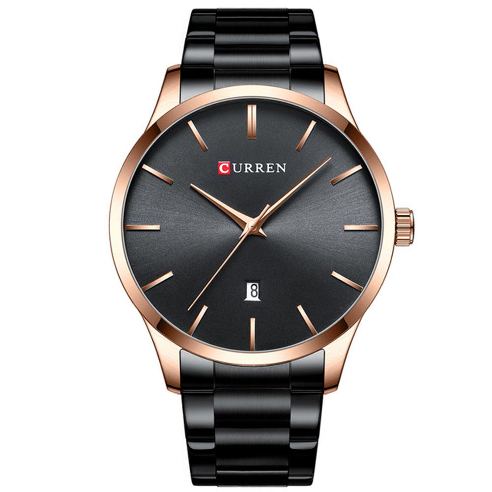 Men Business Quartz Watch Date Display Waterproof Stainless Steel Band Simple Wristwatch Black