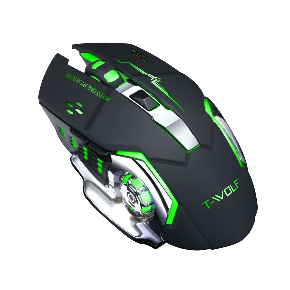 Rechargeable Wireless Mouse Silent Ergonomic Gaming Mice 6 Keys RGB Back-light for Laptop Computer Pro Gamer Thunder Wolf Q13 Silent Black