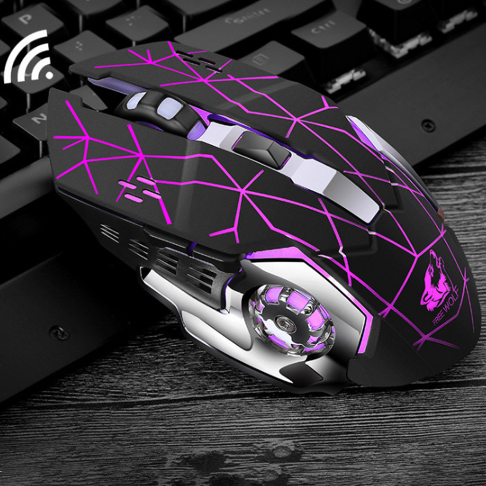 Rechargeable Wireless Silent LED Gaming Mouse USB Optical Mouse for PC Computer Peripherals Star Black Silent Edition
