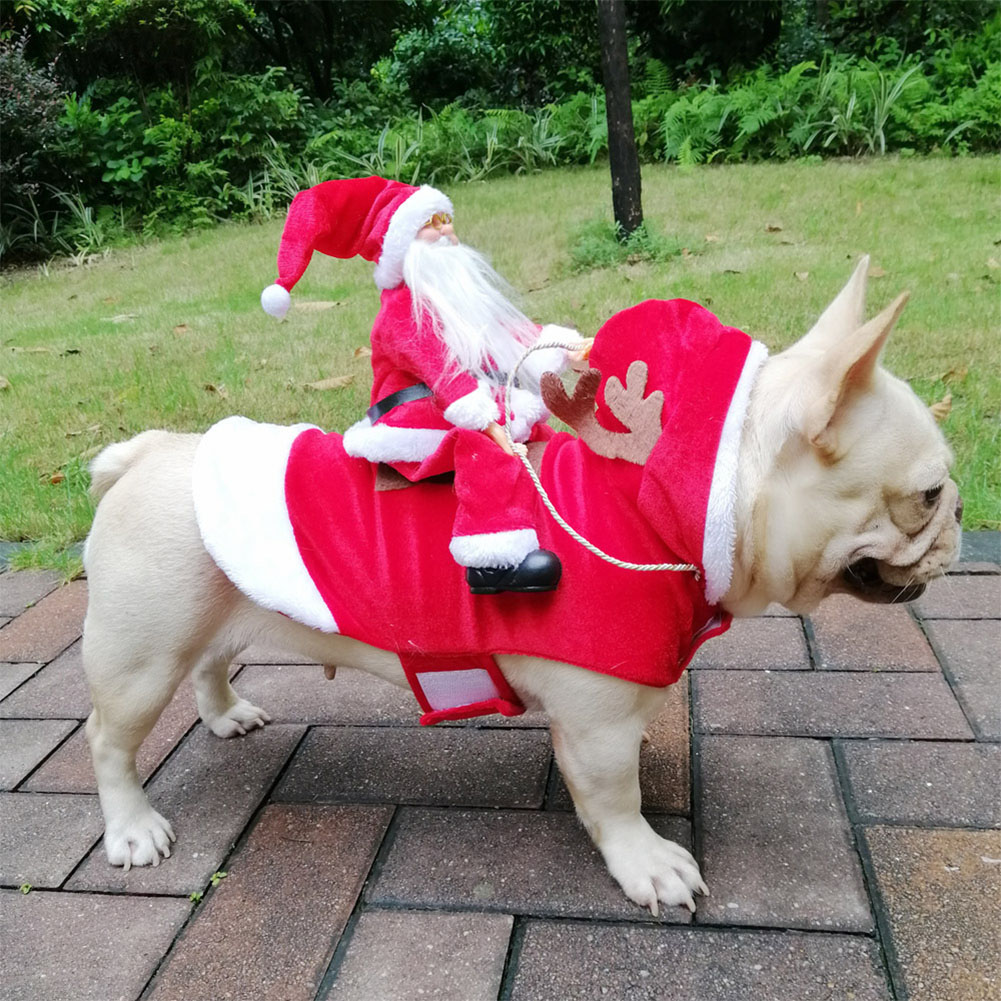 Christmas Coat Santa Claus Rides Deer Shape Costume for Pet Dog Party Cosplay XXL
