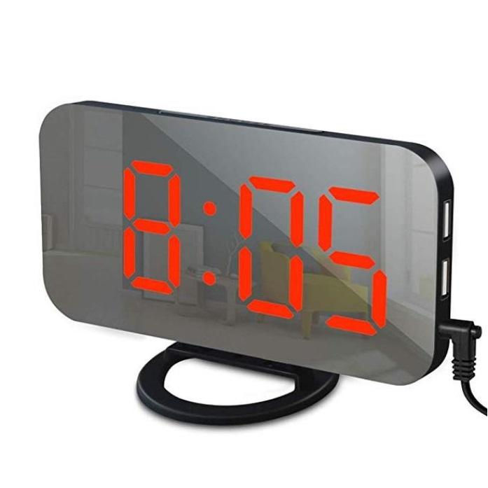 Digital Led Alarm  Clock Mirror 2 Usb Charger Ports Night Light Led Clock Snooze Adjustable Brightness Clocks Black and red