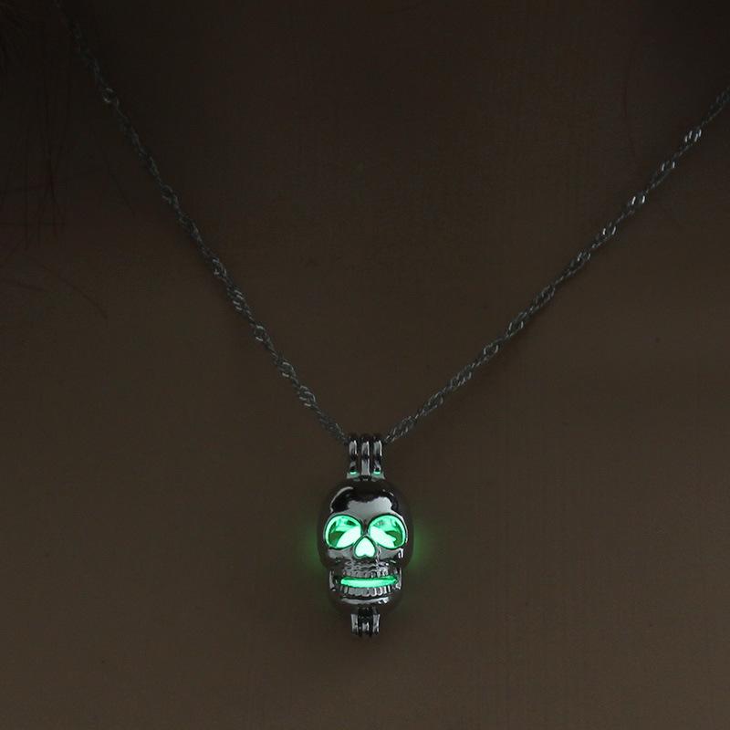 Luminous Alloy Open Cage Mermaid Skull Head Necklace DIY Pendant Halloween Glowing Jewelry Gift NY228-skull head