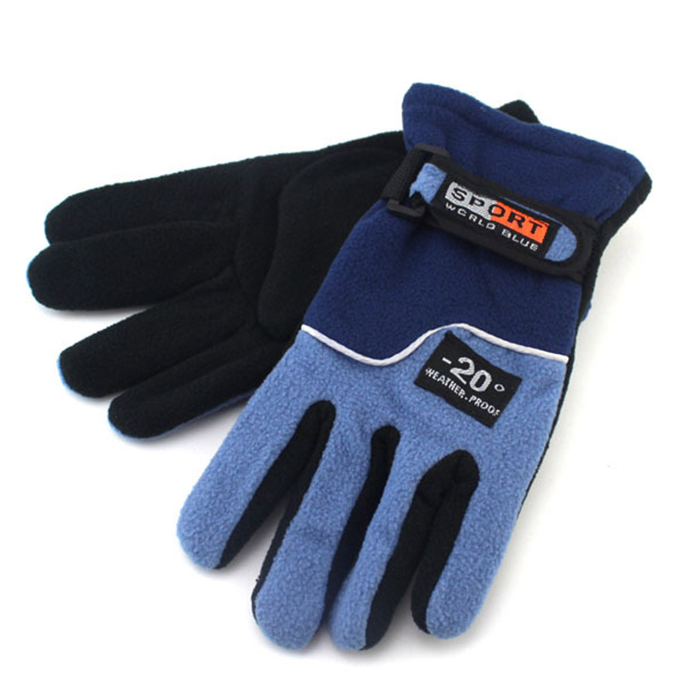 Fleece Motorcycle Gloves Road Mountain Bike Gloves Ultralight Outdoor Skiing Bicycle Heated Warm Gloves Women blue_One size