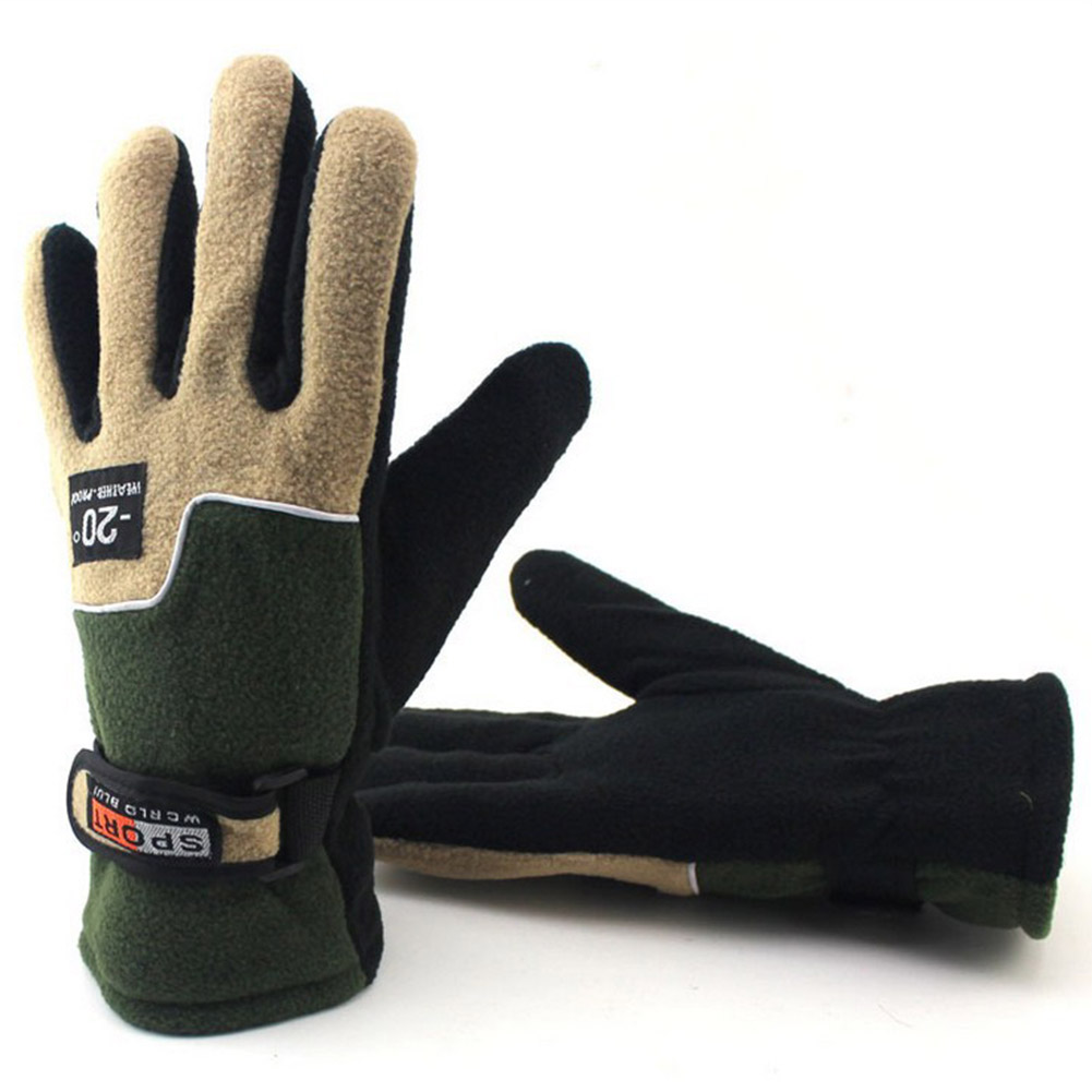 Fleece Motorcycle Gloves Road Mountain Bike Gloves Ultralight Outdoor Skiing Bicycle Heated Warm Gloves Men Army Green_One size