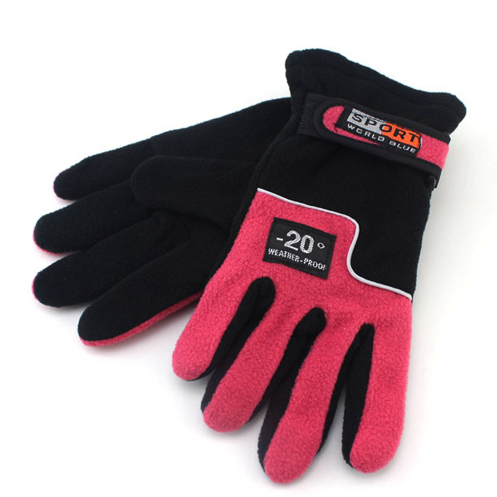 Fleece Motorcycle Gloves Road Mountain Bike Gloves Ultralight Outdoor Skiing Bicycle Heated Warm Gloves Women red_One size