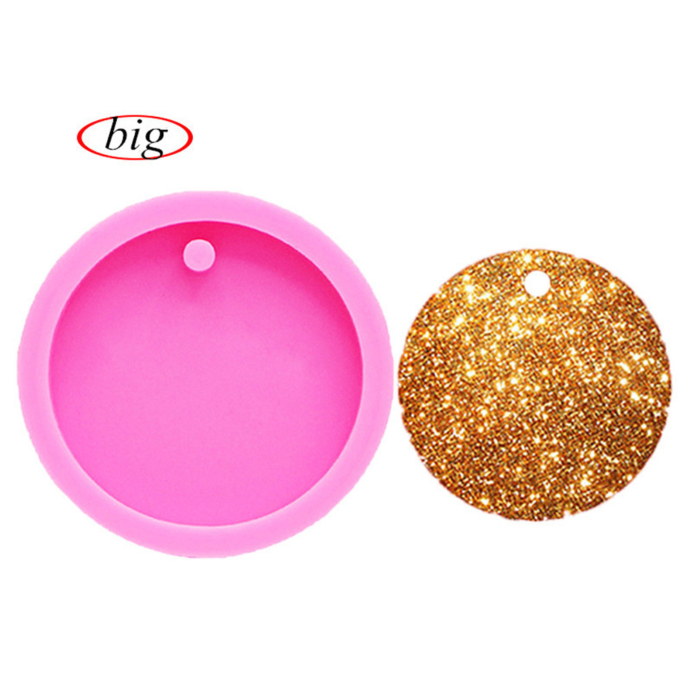 Round Circle Mold with Hole Disk Keychains Silicone Mould for Key Chain Pendant large circle