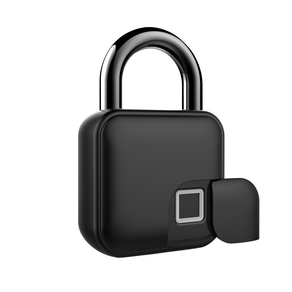 Smart Keyless Fingerprint Lock Waterproof APP / Fingerprint Unlock Anti-Theft Security Padlock Door Luggage Case Lock black
