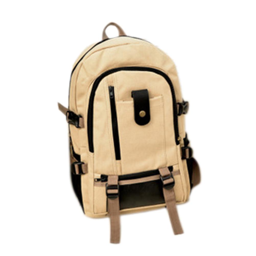 Men's Multi Pockets Canvas Backpack White