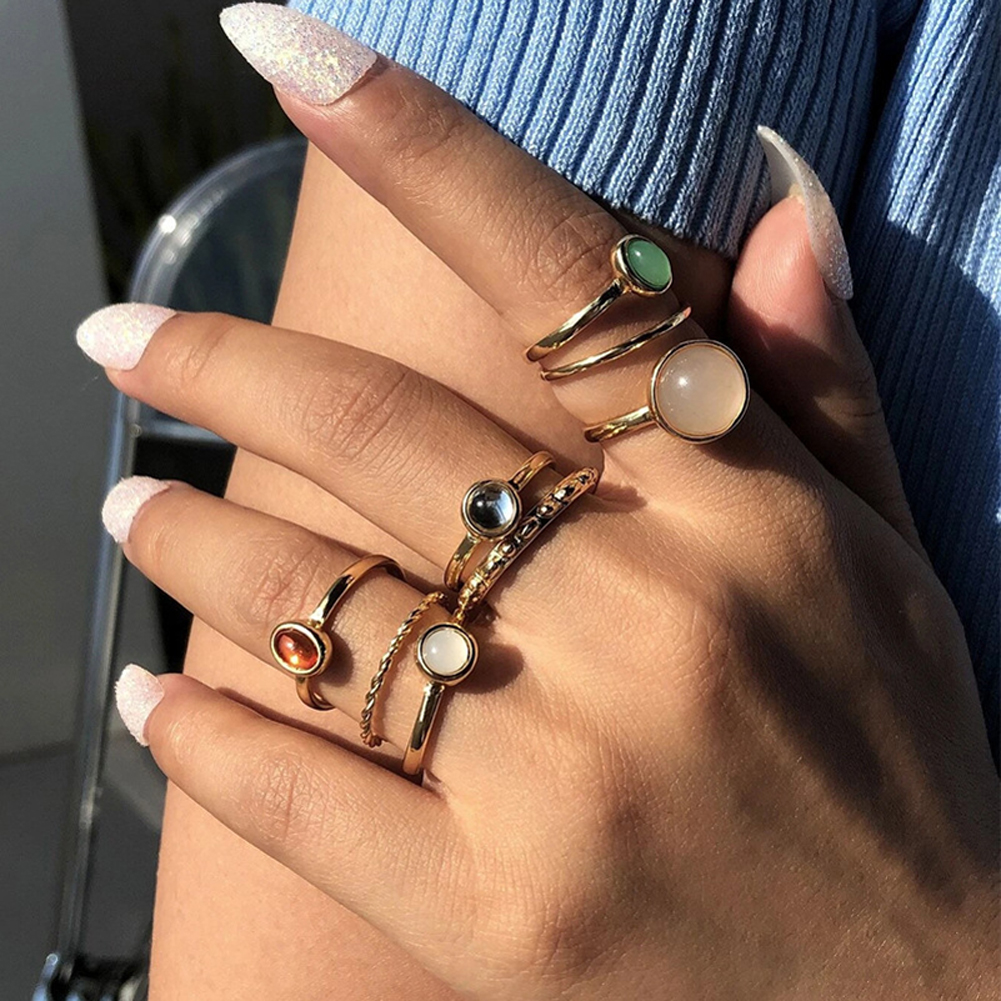 8  Pcs/set  Alloy  Ring Set Creative Joint Ring Cool Style Color Index Finger Ring Combination Golden