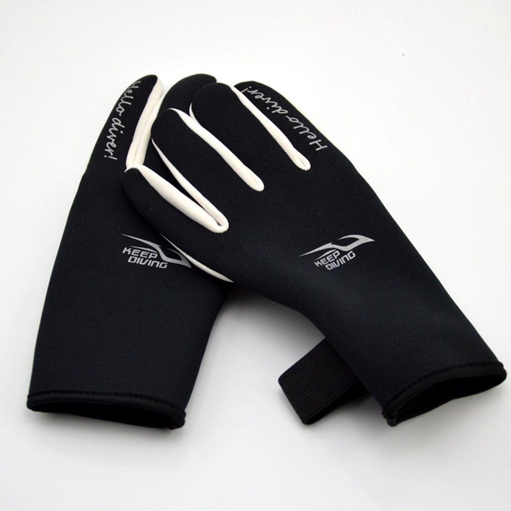2mm Diving Gloves Adult Printing Swimming Snorkeling Gloves Warm Non-Slip Underwater Swim Equipment black_M