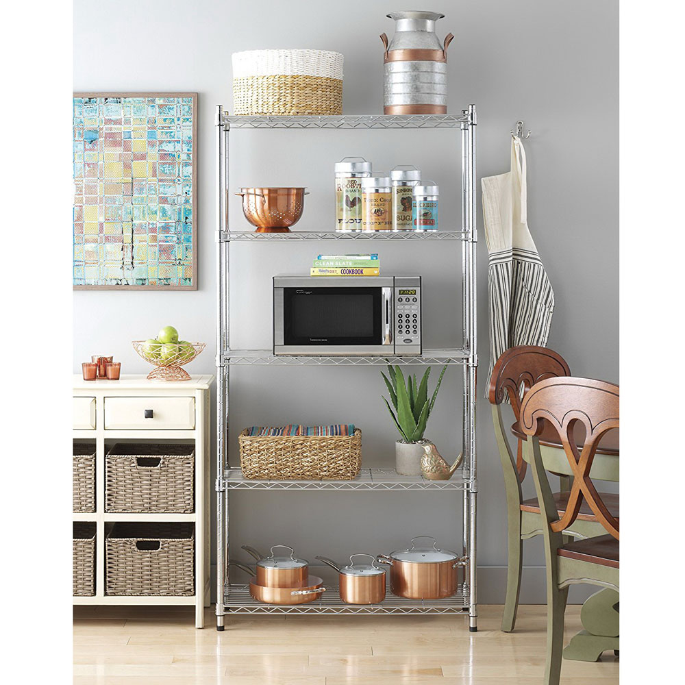 [US Direct] Original Zimtown 5-Tier Storage Shelf Chrome Plated Iron Shelf 180*90*35 (Chrome)