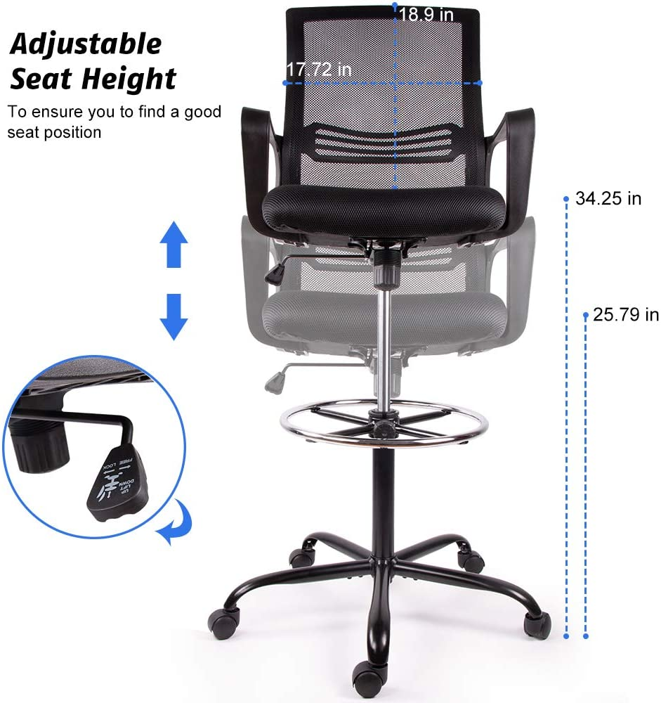 [US Direct] Original Smugdesk Drafting Chair Tall Office Chair for Standing Desk Drafting Mesh Table Chair with Foot Ring (Dark Black)