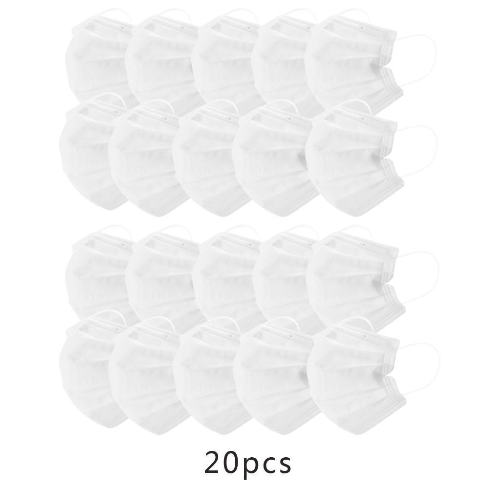 White Color Face Masks Disposable 3 Layers Dustproof Mask Facial Protective Cover Masks Set Anti-Dust Salon Earloop Mask white_20PCS