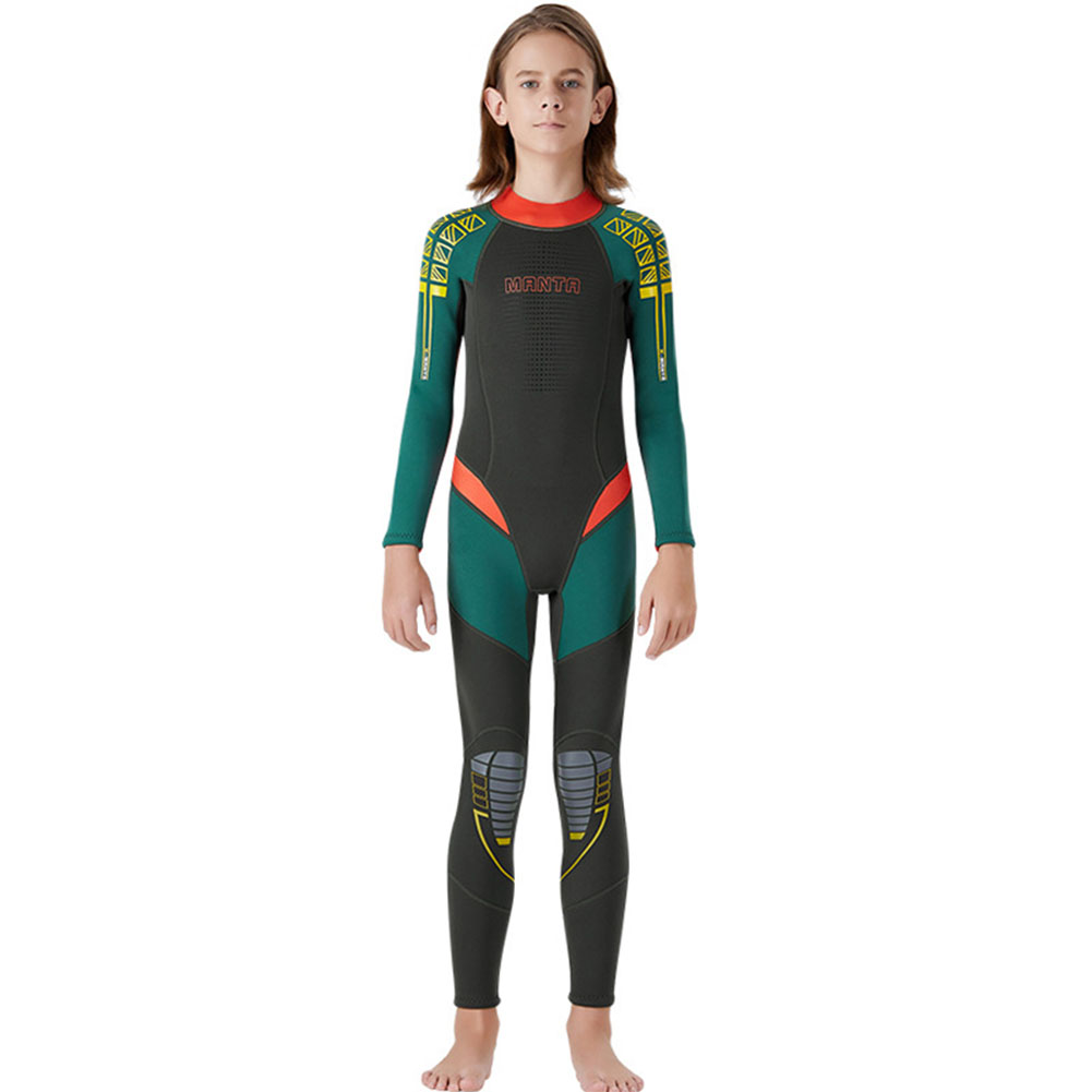 Children Diving Suit 2.5MM Thicken Warm Junior Siamese Long Sleeve Surfing Diving Suit Army Green_S