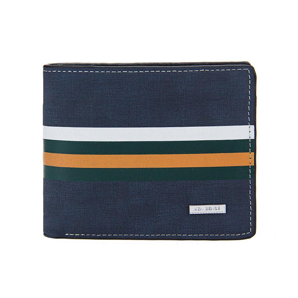 Men Wallets Short Horizontal Multi - Functional Large Capacity PU Leather Wallet blue