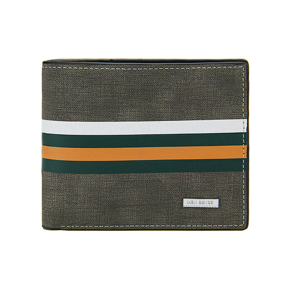 Men Wallets Short Horizontal Multi - Functional Large Capacity PU Leather Wallet light grey