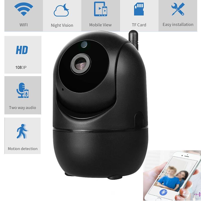 Hd Ip Camera Wifi Auto Tracking Camera Baby Monitor Night Vision Security Home Surveillance Camera 1080P English version + 64G memory