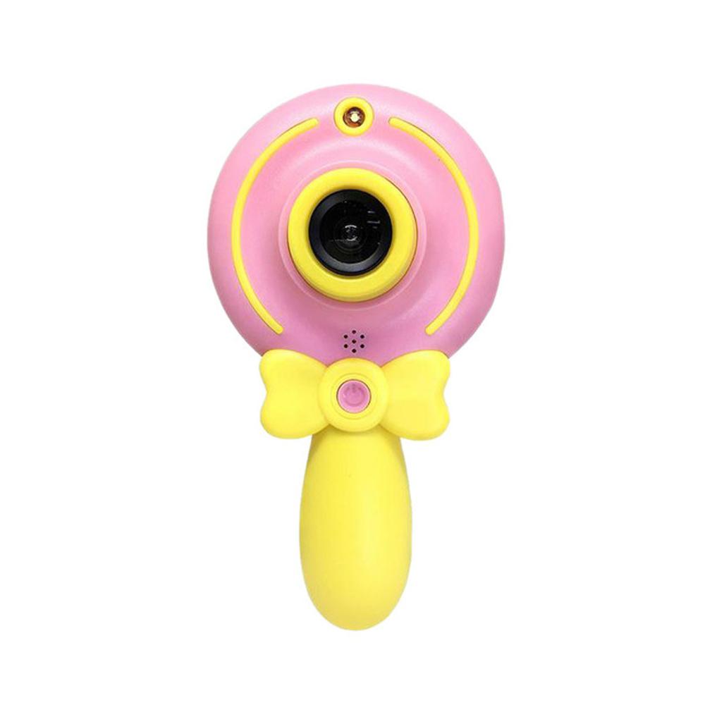 2inch Cartoon Lollipop Digital Camera Mini HD Dual Lens Children Cute Camcorder Kid Gift Pink
