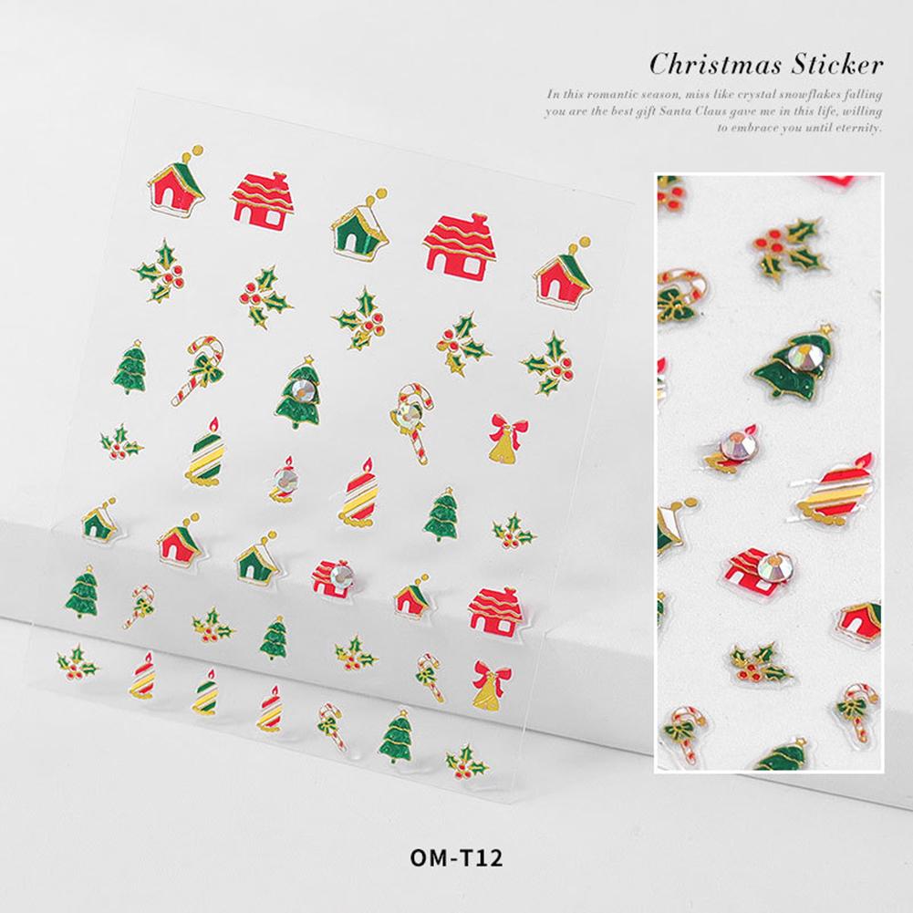 Nail sticker Cartoon Christmas Series Nail Art With Diamond Stickers 3d Santa Snowflake Nail Decoration Stickers 3D Christmas model with diamond sticker-12