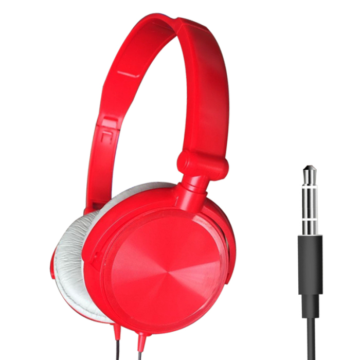 S1 Wired Computer Headset with Microphone Heavy Bass Game Karaoke Voice Headset Red without wheat box