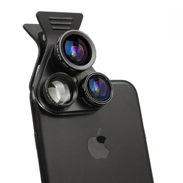 Universal Extended Polarization Wide-angle Lens Macro External Camera 5 in 1 Mobile Phone Fisheye Lens black